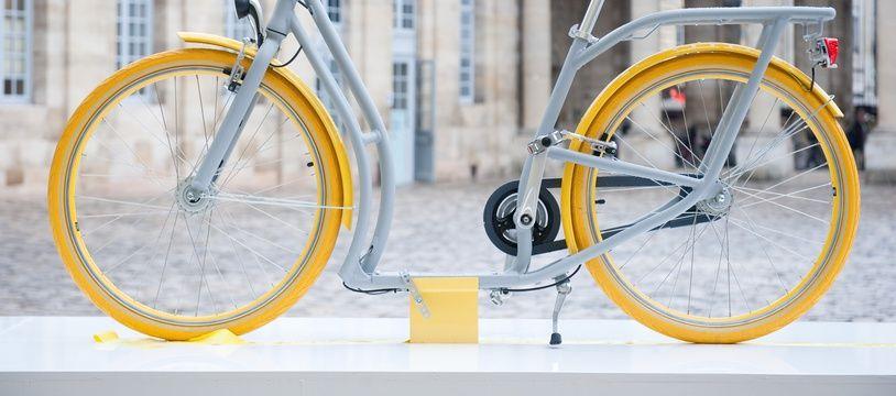 Bordeaux, 25 fevrier 2013. - Le Pibal, designe par Philippe Starck, futur velo de la ville de Bordeaux en pret gratuit a la Maison du velo. - Photo : Sebastien Ortola