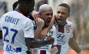 La joie de Christophe Jallet après son but lors de Lyon-Toulouse, le 12 mars 2017.