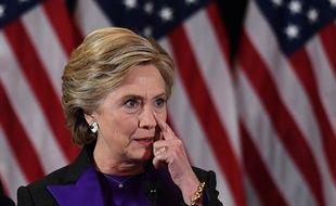 Hillary Clinton reconnaît sa défaite lors d'un discours à New York, le 9 novembre 2016.