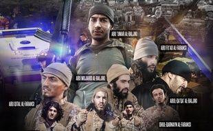 Une photo des terroristes de Daesh ayant participé aux attaques du 13 novembre 2015, publiée dans la revue Daqib, le 19 janvier 2016.
