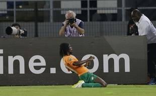 Gervinho célèbre son but face à la RDC, le 4 février 2015