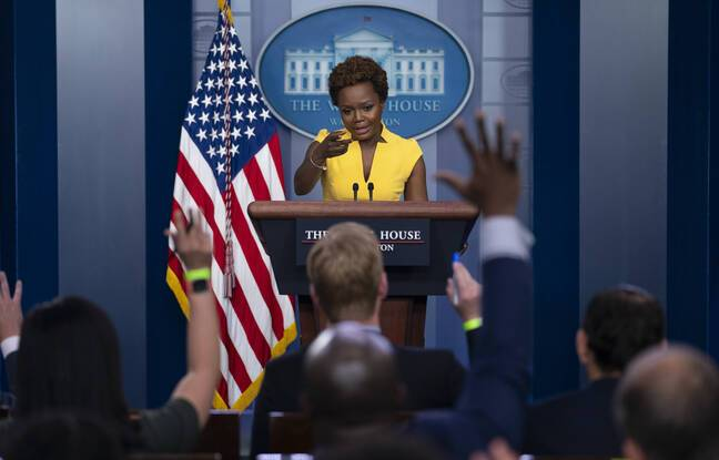 White House deputy press secretary Karine Jean-Pierre speaks during a press briefing at the White House, Wednesday, May 26, 2021, in Washington. (AP Photo/Evan Vucci)/DCEV101/21146643448492//2105262000