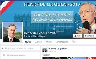 Capture d'écran du compte Facebook de  Henry de Lesquen 2017 (henrydelesquen2017/)