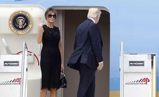 Melania Trump et son mari le 24 mai 2017 à la fin d'un voyage diplomatique en Italie.