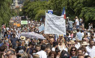 Une manifestation contre le pass sanitaire à Nice, en août 2021 (Illustration)