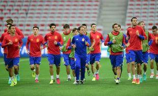L'équipe d'Espagne à l'entraînement pendant l'Euro-2016, le 16 juin 2016 à Nice