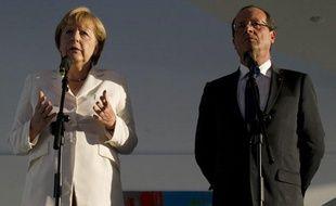 Angela Merkel et François Hollande lors de leur rencontre à Berlin le 23 août 2012.