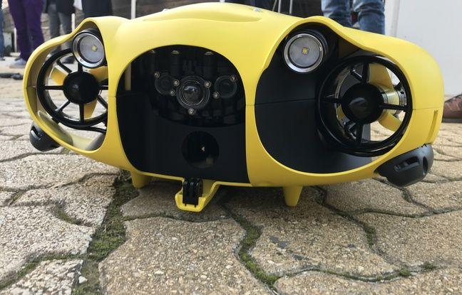 Le drone sous-marin Ibubble présenté à Marseille.