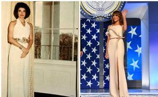Jacqueline Kennedy dans le bureau ovale le 28 mars 1963, Melania Trump au bal de l'investiture le 20 janvier 2017.
