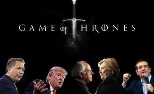 Photomontage «Game of Thrones»: John Kasich, Donald Trump, Bernie Sanders, Hillary Clinton et Ted Cruz.