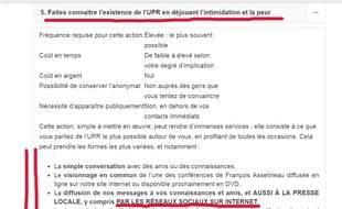 Capture écran du site UPR