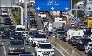 Un embouteillage sur l'autoroute A7 à Lyon.