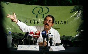 Conférence de presse du président du Honduras exilé, Manuel Zelaya, avant son départ pour le Nicaragua le 28 juin 20069.