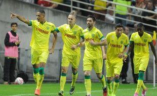 Yacine Bammou (à gauche) vient d'inscrire son premier but en professionnel pour le FC Nantes.