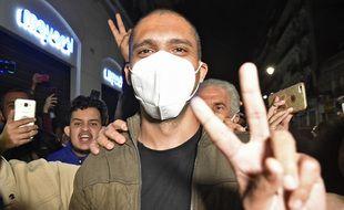 Le journaliste et militant Khaled Drareni après sa libération le 19 février 2021.