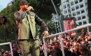 Le rappeur Booba hier sur le plateau du Grand journal à Cannes