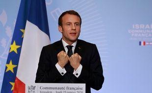 Emmanuel Macron, le 23 janvier 2020 à Jérusalem.