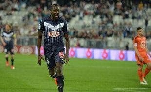 Cheick Diabaté, le meilleur buteur des Girondins lors d'un match face à Lorient, disputé le 7 mai 2016 à Bordeaux. AFP PHOTO / NICOLAS TUCAT