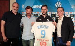 Andoni Zubizarreta, André Villas-Boas, Dario Benedetto et Jacques-Henri Eyraud, le 5 août 2019.