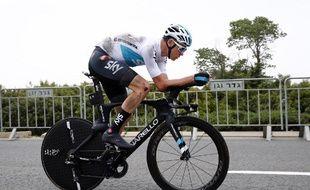 Chris Froome a chuté lors de la reconnaissance du prologue du Tour d'Italie, le 4 mai 2018 à Jerusalem.