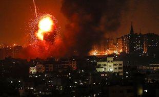 Des raids aériens israéliens ont visé Gaza en riposte à des tirs de roquettes du Hamas, dans la nuit du 8 au 9 août 2018.