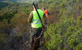 Des chasseurs dans la nature. Illustration.