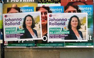 Affiches électorales de Johanna Rolland, candidate à la mairie de Nantes (2020).
