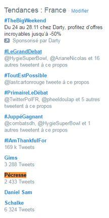 Capture d'écran des mots les plus tweetés le 24 novembre 2016 au soir en France.