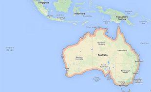 Capture d'écran d'une Google map de l'Australie.