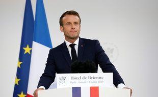 Emmanuel Macron lors de son discours à l'Hotel de Brienne, samedi 13 juillet.