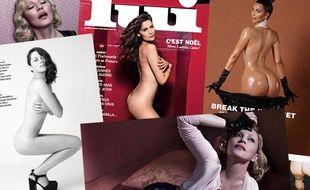 Montage de couvertures et de photos réalisées pour la presse, mettant en scène des stars nues.