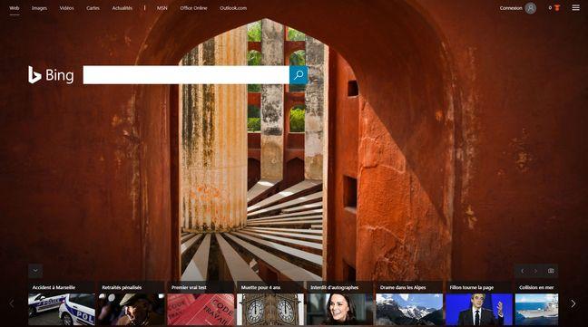 La page d'accueil de Bing et sa fameuse photo.