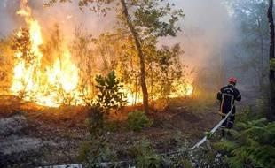 Un pompier contre les flammes dans la forêt landaise près de Lacanau en Gironde, le 3 juillet 2011.