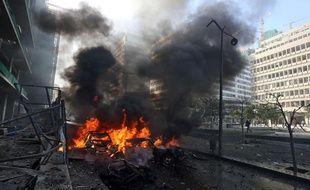 Attentat à la voiture piégée à Beyrouth, au Liban, le 27 décembre 2013.