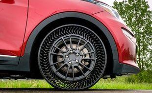 Les pneus Michelin Uptis testés dans le Michigan, le 29 mai 2019.