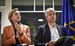 Virginie Calmels avec Laurent Wauquiez, en meeting à Arcachon le 23 novembre 2017.