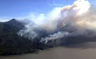 Un feu de forêt près d'Anchorage, en Alaska.