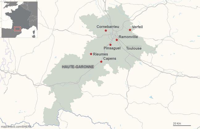 Les points de rendez-vous des agriculteurs en Haute-Garonne avant de converger vers le périphérique toulousain, mardi 8 octobre.