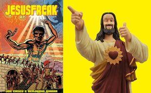 la couverture de Jesusfreak (à gauche) et la figurine du héros de la pop culture Buddy Jesus
