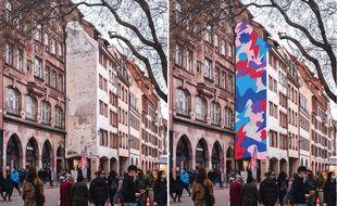 La façade actuelle au 51, rue des Grandes Arcades, à Strasbourg (à gauche), et avec le projet de Bruno Bosse (à droite).