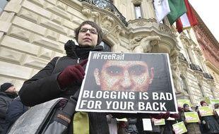 Manifestation en Autriche contre la sentence du blogueur saoudien Raef Badaoui, à Vienne le 6 février 2015.