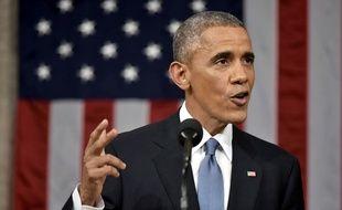 Barack Obama lors du discours sur l'état de l'Union, le 20 janvier 2015.