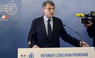 Vincent Peillon, le 16 janvier 2014, lors de l'annonce de son plan de réforme de l'éducation prioritaire.