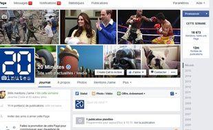 La page Facebook de «20 Minutes».