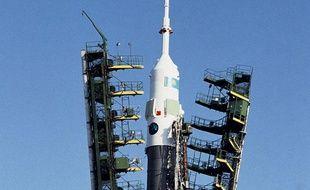 Départ d'une fusée Soyouz en 1992, au Kazakhstan.
