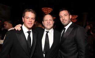 Le producteur Harvey Weinstein avec les acteurs Matt Damon et Ben Affleck.