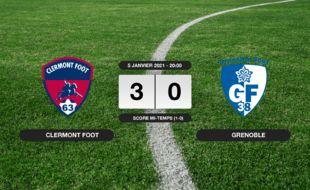 Ligue 2, 18ème journée: Le Clermont Foot vainqueur de Grenoble 3 à 0 au stade Gabriel-Montpied