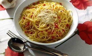 Un plat de spaghettis