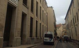 Des CRS étaient mobilisés à la faculté de droit de Montpellier ce mardi.