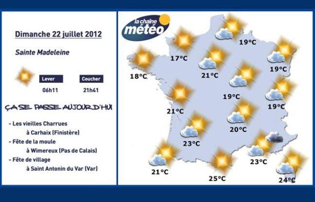 Carte météo du dimanche 22 juillet 2012